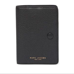 Marc Jacobs Black Pebbled Leather Passport Cover